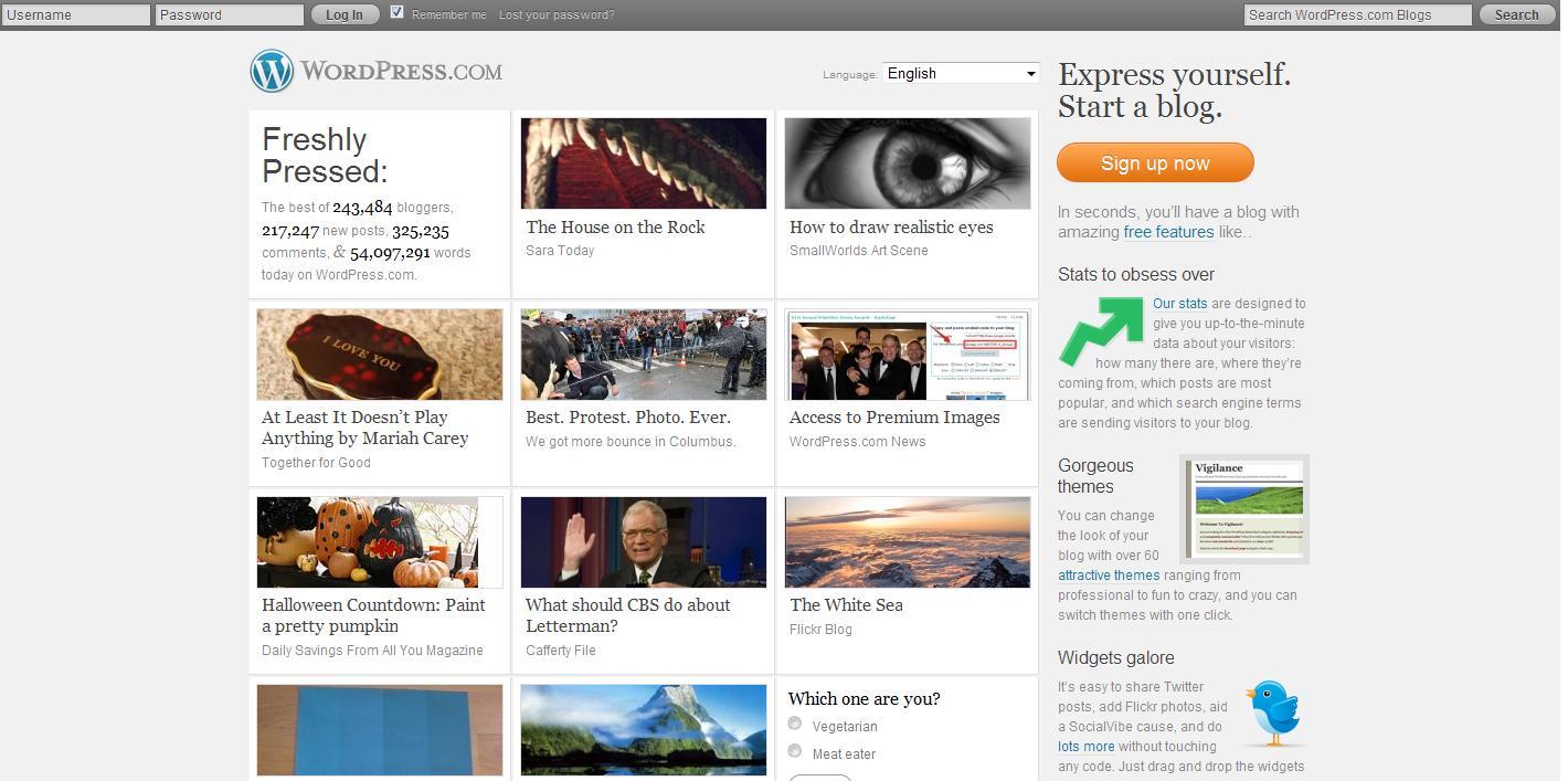 WP.com Opening Screen