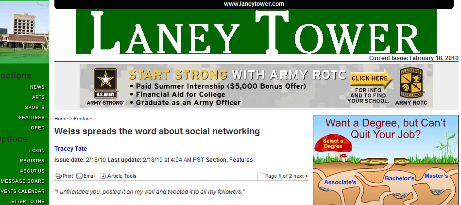 Laney Tower Social Media Sites Surpass Porn, and J students Take Note